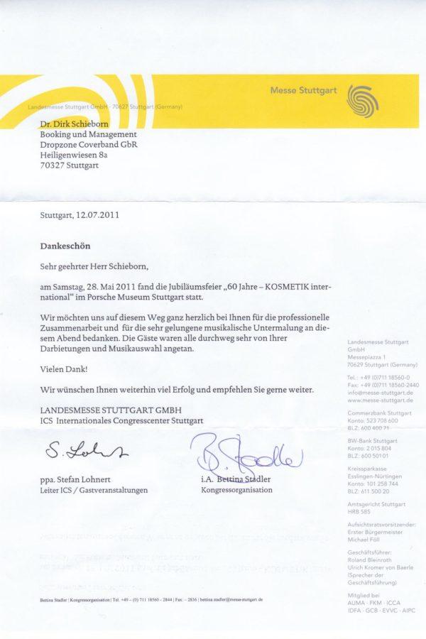 Empfehlung der Landesmesse Stuttgart GmbH