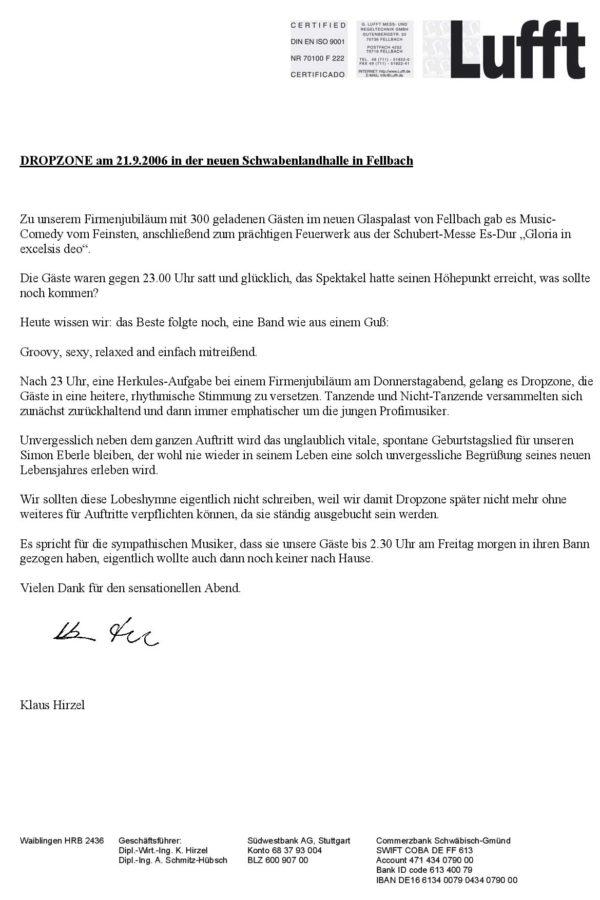 Empfehlung der G. Lufft GmbH