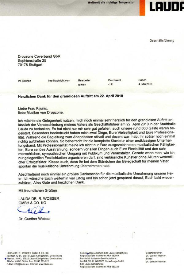 Empfehlung der LAUDA GmbH