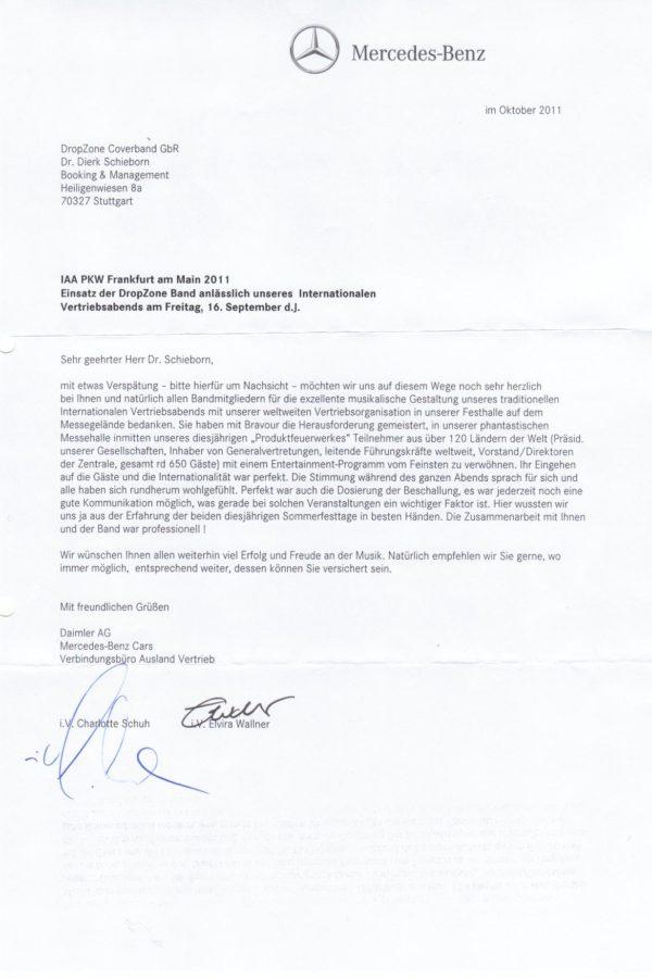 Empfehlung der Daimler AG – Internationalen Vertriebsabends