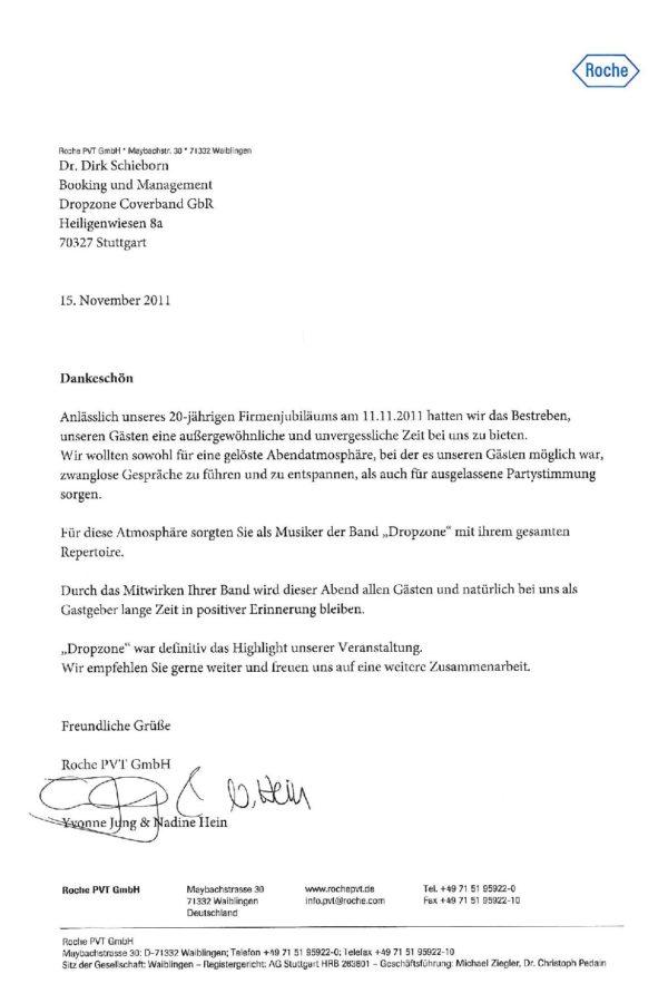 Empfehlung der Roche PVT GmbH