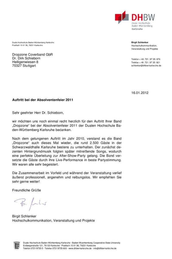 Empfehlung der DHBW Karlsruhe