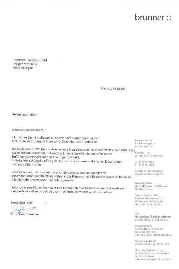 Empfehlung der Brunner GmbH