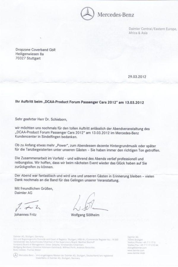Empfehlung der Daimler AG – DCAA-Product Forum