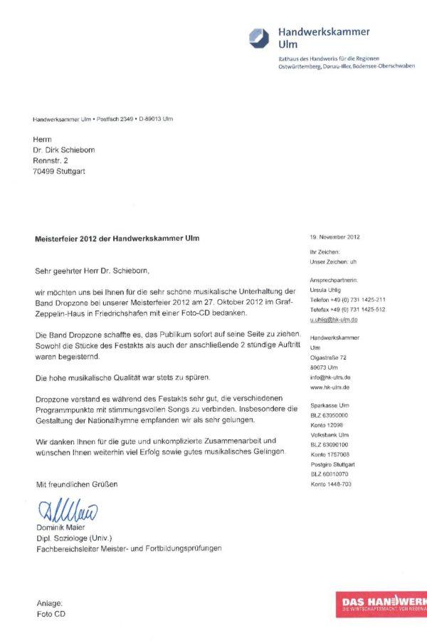 Empfehlung der Handwerkskammer Ulm