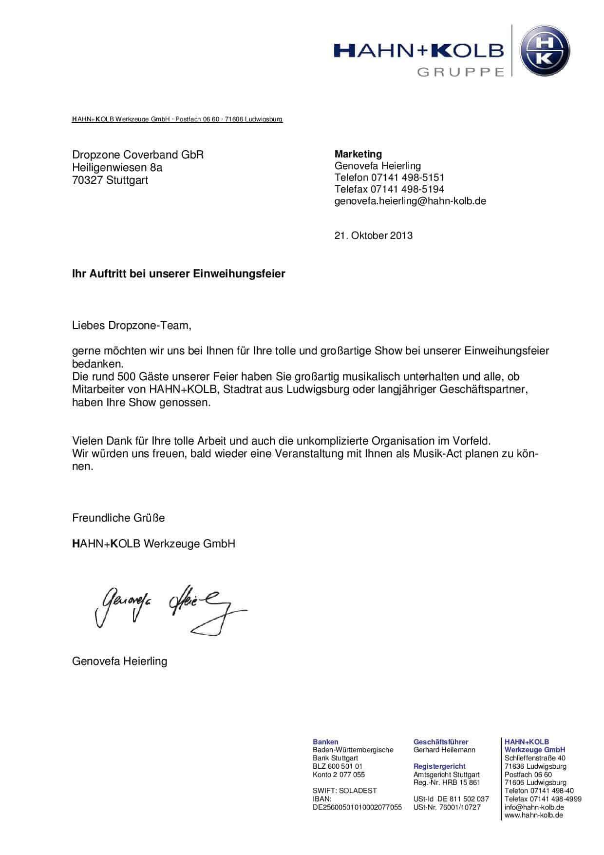 Empfehlung der HAHN+KOLB Werkzeuge GmbH