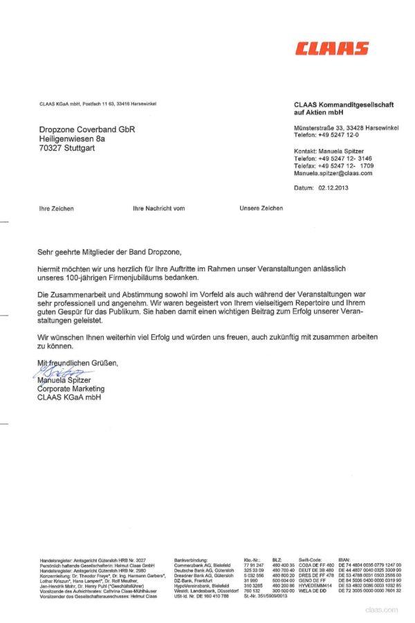 Empfehlung der CLAAS GmbH